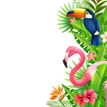 Illustration pour Opulent rainforest foliage vertical border with pink flamingo  toucan and bird of paradise flower colorful vector illustration - image libre de droit