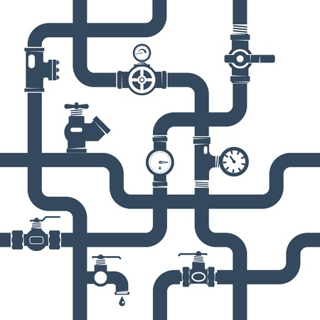Illustration for Pipes System Concept. Pipes Vector Illustration.Pipes Black White Flat Symbols. Pipes Black Design Set. Pipes System Decorative Elements. - Royalty Free Image
