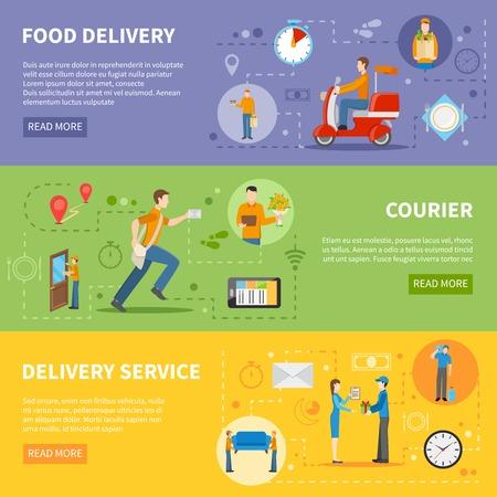 Illustration pour Delivery service and courier people delivering various goods horizontal colorful banners flat vector illustration - image libre de droit