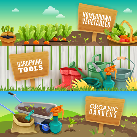 Illustration pour Three colorful gardening horizontal banners with farming tools homegrown vegetables in garden beds and organic fertilizer in handcart flat vector illustration - image libre de droit
