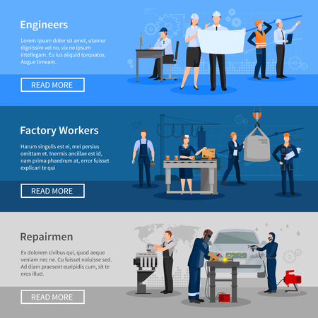 Illustration pour Engineers at work factory workers in workshop and repairmen in car service flat horizontal banners vector illustration - image libre de droit