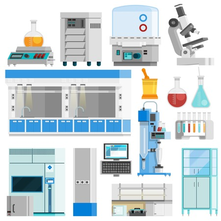 Illustration pour Science flat color isolated icons set of tools for natural sciences research and highly technological laboratory equipment flat vector illustration - image libre de droit