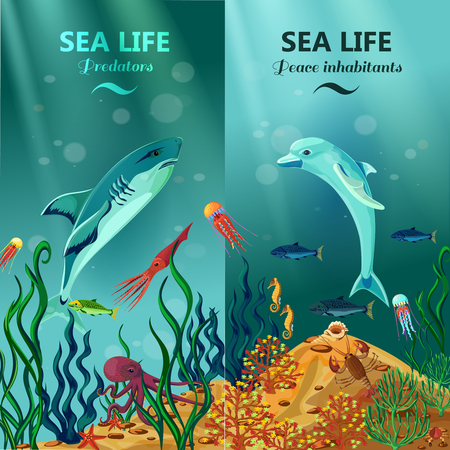 Illustration pour Colorful vertical sea life banners with peace and predator inhabitants of underwater coral reefs flat vector illustration - image libre de droit