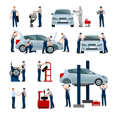 Illustration for Flat icons set of different workers in car and tire service doing their work isolated vector illustration - Royalty Free Image