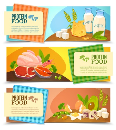 Vektor für Healthy diet 3 horizontal flat banners set with information on high protein food abstract isolated vector illustration - Lizenzfreies Bild