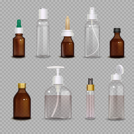 Illustration pour Realistic images set of different bottles for pharmaceutical or makeup means on transparent background isolated vector illustration - image libre de droit