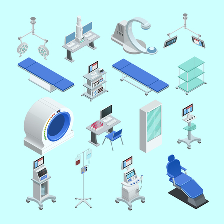 Vektor für Modern medical surgery and examination rooms equipment with scanner  monitor and operation table abstract isolated vector illustration - Lizenzfreies Bild