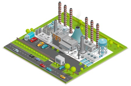 Illustration for Chemical plant isometric concept with factory pipes fuel containers industrial buildings automobile parking vector illustration - Royalty Free Image