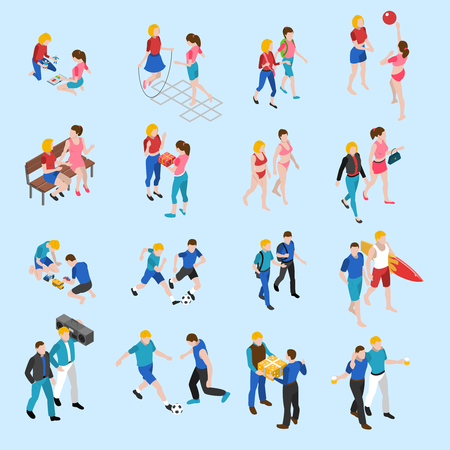 Illustration pour Friends isometric icons set with playing children and adults talking and sharing hobbies abstract isolated vector illustration - image libre de droit