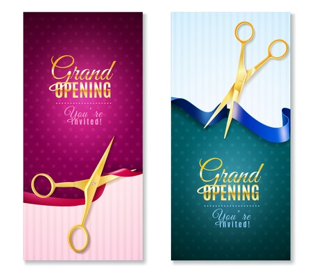 Illustration pour Grand opening invitation vertical banners set with ribbon realistic isolated vector illustration - image libre de droit