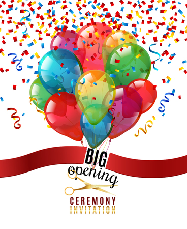 Illustration pour Opening ceremony invitation realistic background with scissors and balloons vector illustration - image libre de droit