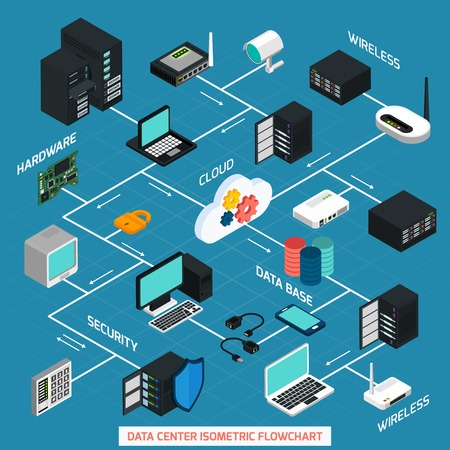 Illustration pour Data center isometric flowchart with hardware security cloud service and wireless technology elements connected with dash line on blue background vector illustration - image libre de droit