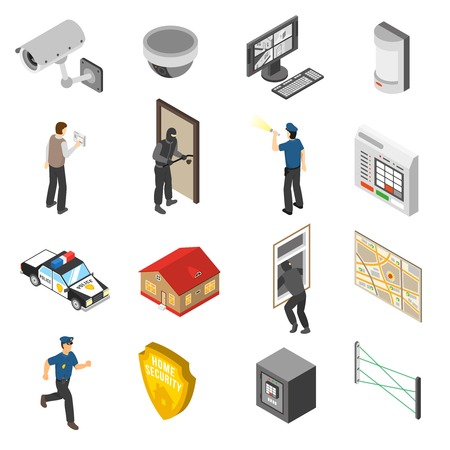 Illustration for Home security system service isometric elements collection with surveillance camera and police officer abstract isolated icons vector illustration - Royalty Free Image