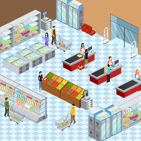 Supermarket grocery store interior design isometric composition with customers at display racks and paying abstract vector illustration