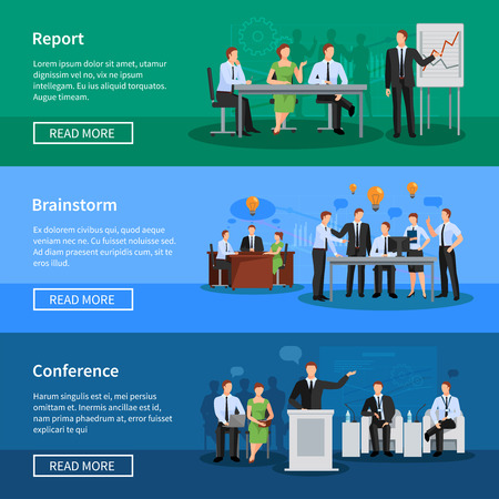 Illustration pour Flat horizontal banners with vector illustration of group of people having conference and meeting for business collaboration and discussion process - image libre de droit