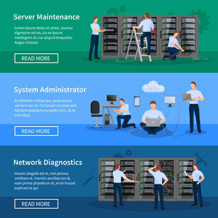 Illustration pour IT administrator horizontal banners with network engineers working in server room for hardware diagnostic flat vector illustration - image libre de droit