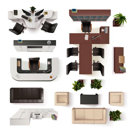 Interior Icons Top View With Sofa Armchair Couch Isolated Vector