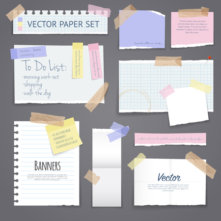 Illustration for Paper banners with notes set attached with sticky colorful tape on grey background isolated realistic vector illustration - Royalty Free Image