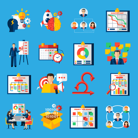 Illustration pour Scrum agile development framework methodology symbols  for managing complex projects flat icons collection abstract isolated vector illustratin - image libre de droit
