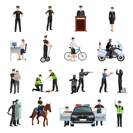 Ilustración de Police people in office and outside flat color icons set with traffic policeman criminalists dispatcher mounted police isolated vector illustration - Imagen libre de derechos