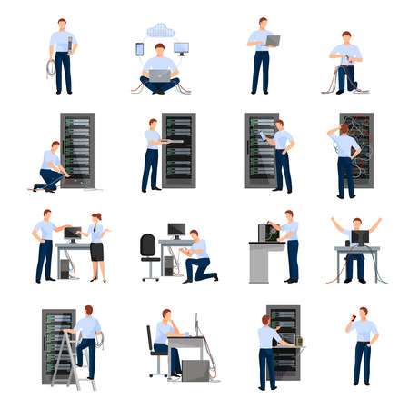 Illustration pour System administrator flat icons set of server racks and network engineers involved in maintenance of system modules isolated vector illustration - image libre de droit