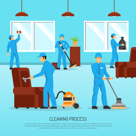Illustration pour Industrial cleaning and maintain company service team at work in warehouse facility flat poster abstract vector illustration - image libre de droit
