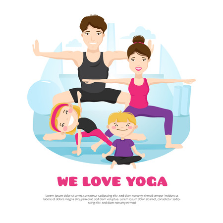 Illustration pour We love yoga wellness center poster with young family practicing asanas and poses together cartoon abstract vector illustration - image libre de droit