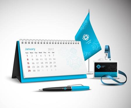 Foto de Calendar pen flag and badge corporate identity mockup set of blue color for your design on light background realistic vector illustration - Imagen libre de derechos