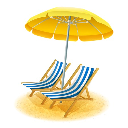 Illustration for Beach summer resort with deck chairs and umbrella cartoon vector illustration - Royalty Free Image