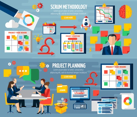 Illustration pour Scrum agile development methodology teamwork 2 colorful horizontal banners with sprint project planning abstract isolated vector illustratin - image libre de droit