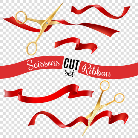 Golden scissors and ribbon transparent set with opening ceremony symbols realistic isolated vector illustration