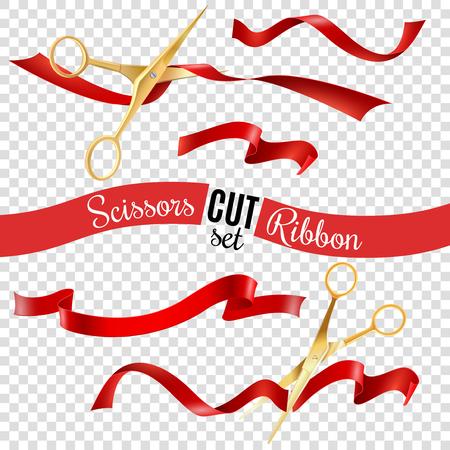 Ilustración de Golden scissors and ribbon transparent set with opening ceremony symbols realistic isolated vector illustration - Imagen libre de derechos