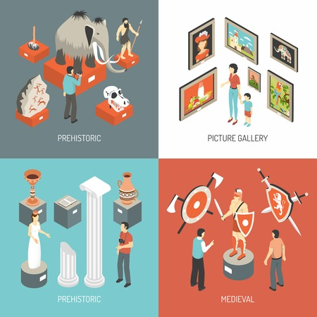 Illustration pour Historical museum medieval hall exhibits and picture gallery 4 isometric icons square banner abstract isolated vector illustration - image libre de droit