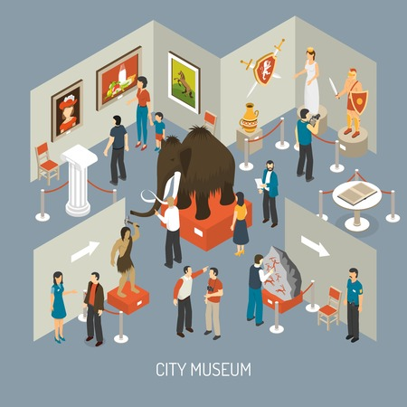 Illustration pour Cultural history city center museum exhibits galleries with antique archaeological finds isometric composition poster abstract vector illustration - image libre de droit