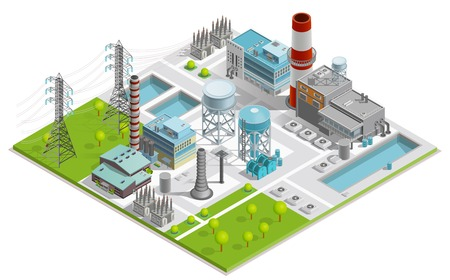 Illustration pour Vector illustration of boiler factory for production of thermal and electrical energy with power line supports isometric concept - image libre de droit