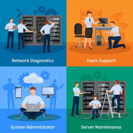 Illustration pour Network engineer and it administrator 2x2 design concept set of network diagnostics users support and server maintenance elements vector illustration - image libre de droit