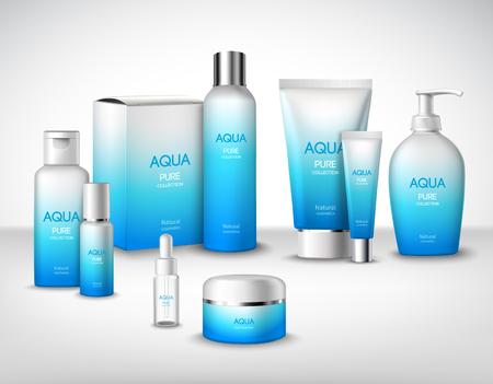 Illustration pour Aqua pure natural treatment cosmetic packages decorative set vector illustration - image libre de droit