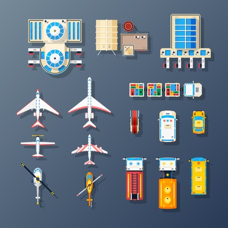 Illustration for Airport buildings airfield parking area air transport and ground service facilities elements top view set isolated vector illustration - Royalty Free Image