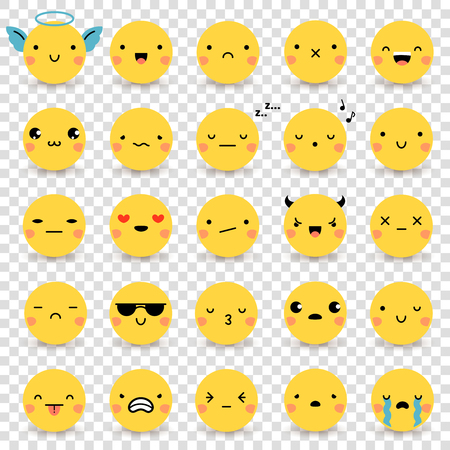 Photo pour Twenty-five cute yellow flat emoticons set with various emotions isolated on transparent background vector illustrations - image libre de droit
