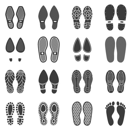 Illustration for Monochrome icons set of parallel shoes footprint with white background  vector illustration - Royalty Free Image