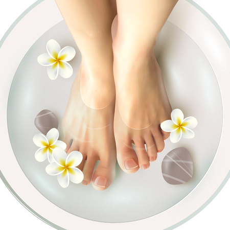 Illustration for Pedicure spa female feet in spa bowl with water flowers and stones realistic vector illustration - Royalty Free Image
