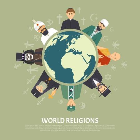 Illustration pour Color flat illustration depicting different world religion confession with title vector illustration - image libre de droit