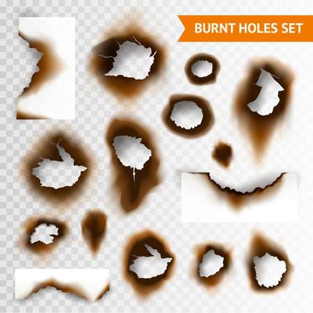 Illustration pour Set of scorched piece of paper and burnt holes on transparent background isolated vector illustration - image libre de droit