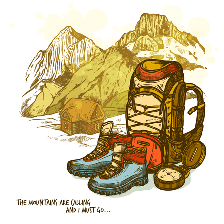Illustration pour Trendy hand drawn hiking poster with boots compass and backpack on mountains landscape background vector illustration - image libre de droit