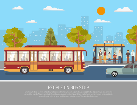 Illustration for City public transport service flat poster with people waiting at bus stop shelter abstract vector illustration - Royalty Free Image