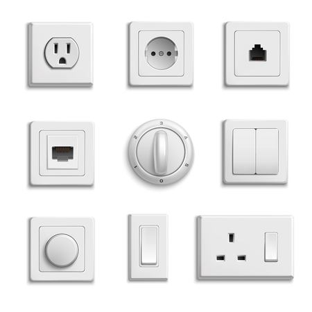 Illustration pour Square rectangular and round white switches and sockets realistic set on white background isolated vector illustration - image libre de droit