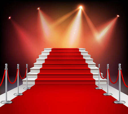 Illustration pour White stairs covered with red carpet and illuminated by spotlight realistic vector illustration - image libre de droit