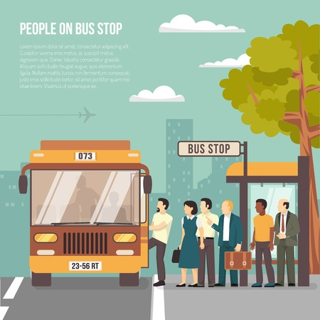 Illustration for People getting on bus at shelter stop in city flat poster with information on transportation vector illustration - Royalty Free Image
