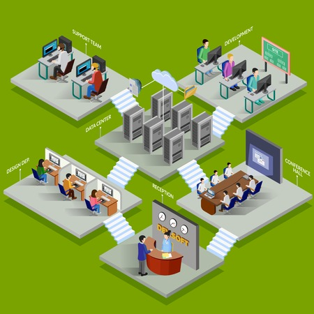 Illustration for Development office isometric design concept with reception data center conference hall support service elements flat vector illustration - Royalty Free Image