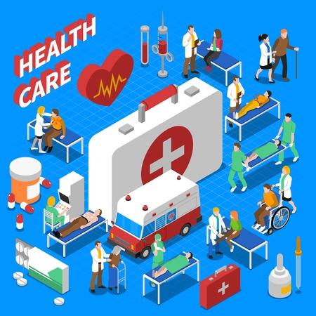 Ilustración de Doctor patient communication with ambulance medical kit and stretcher health care isometric composition poster abstract vector illustration - Imagen libre de derechos
